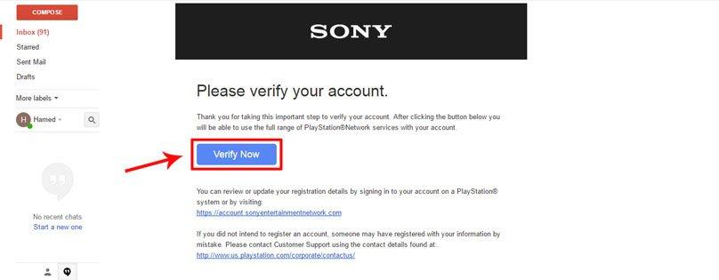 تایید ایمیل فرستاده شده از طرف سونی برای فعال سازی اکانت PSN